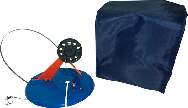 Набор оснащенных жерлиц в сумке, 10шт, ф195мм, пластиковая стойка, катушка ф63мм